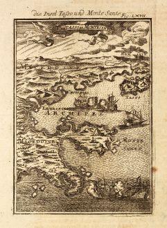 Antique Maps, Mallet, Greece, Thasos, Mount Athos, 1686: Die Insel Tassos und Monte Sante / Il de Tasso et Monte Santo