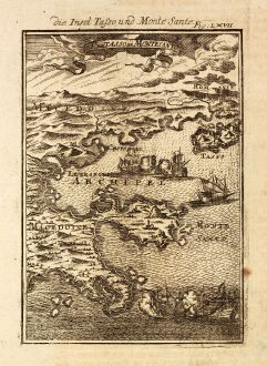 Antike Landkarten, Mallet, Griechenland, Nord-Ägäis, Thasos, Heiliger Berg Athos: Die Insel Tassos und Monte Sante / Il de Tasso et Monte Santo