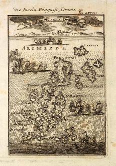 Antike Landkarten, Mallet, Griechenland, Pelagnisi, Dromo, 1686: Die Inseln Pelagnisi, Dromi / I. de Pelagnisi Dromi