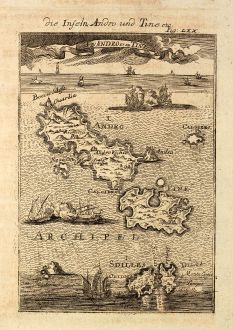 Antique Maps, Mallet, Greece, Andros, Tinos, Cyclades, 1686: Die Inseln Andro und Tine / I d'Andro et de Tine