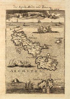 Antike Landkarten, Mallet, Griechenland, Andros, Tinos, Kykladen, 1686: Die Inseln Andro und Tine / I d'Andro et de Tine