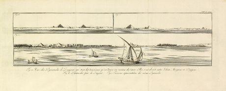 Antike Landkarten, Norden, Ägypten, Ägypten, Dahschur, Knickpyramide, 1795: Vue des Pyramides de Dagjour, qui sont les troisièmes, qu'on trouve en venant du Caire.