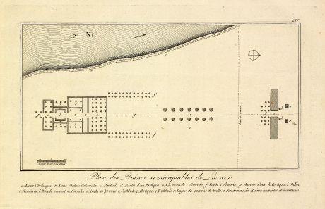Antique Maps, Norden, Egypt, Luxor, Ipet-resit, 1795: Plan des Ruines remarquables de Luxxor