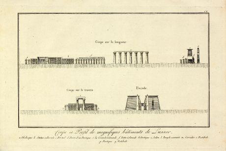 Books, Norden, Egypt, Luxor, Amenhotep III, 1795: Coupe et Profil de magnifiques batiments de Luxxor