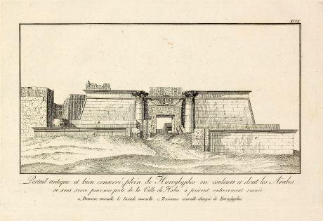 Books, Norden, Egypt, Theben, Medinet Habu, 1795: Portail antique et bien conserve, plain de Hieroglyphes en couleurs et dont les Arabes se sont servi pour une porte de la...