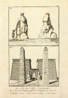 Books, Norden, Egypt, Luxor Temple, Obelisk, Ramsses, 1795: Les deux Colosses bien en particulier / Vue du Portail principal des Antiquites de Luxxor.