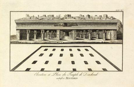 Bücher, Norden, Ägypten, Dendera, Hathor-Tempel, 1795: Elevation et Plan du Temple de Denderah autrefois Tentyris
