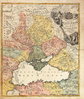 Antique Maps, Homann, Ukraine, Black Sea, 1720: Tabula Geographica qua pars Russiae Magnae Pontus Euxinus seu Mare Nigrum et Tartaria Minor ...