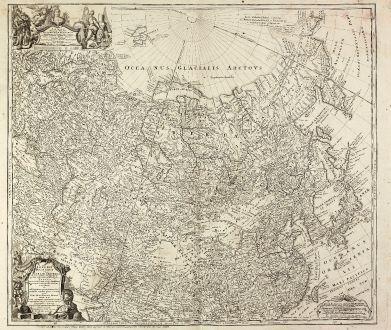 Antike Landkarten, Homann Erben, Russland, 1739: Imperii Russici et Tatariae Universae tam majoris et Asiaticae quam minoris et Europaeae Tabula ...