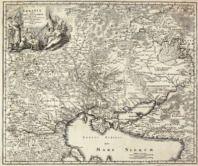 Antike Landkarten, Homann, Ukraine, Schwarzes Meer, 1720: Ukrania quae et Terra Cosaccorum cum vicinis Walachiae, Moldaviae, Minorisq., Tartariae Provinciis exhibita