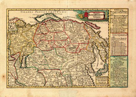 Antike Landkarten, Schreiber, Russland, 1749: Das gantze Russische Kaeyserthum mit allen seinen Laendern verfertiget von J. G. Schreibern in Leipzig