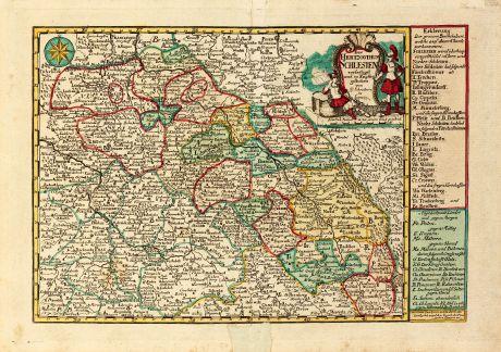 Antike Landkarten, Schreiber, Polen, Schlesien, 1749: Das Hertzogthum Schlesien verfertiget und in Kupffer gestochen von G. Schreibern in Leipzig
