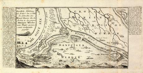 Antique Maps, Bodenehr, Poland, West Prussia, Vistula, Gdansk, 1722: Eigentliche Abbildung wie Ao 1657. den 27. Febr. die Schweden den Weixel Damm durch-stochen u. den ganzen Dantziger Werder...