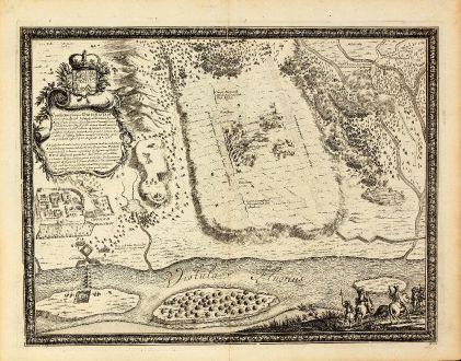 Antike Landkarten, von Pufendorf, Polen, Weichsel, Dirschau, 1697: Conclictus prope dirschauiam