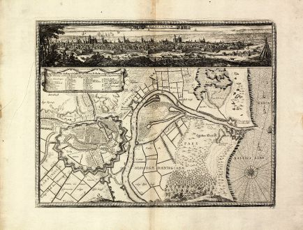 Antique Maps, Pufendorf, Poland, Vistula, Gdansk, 1697: Dantiscum / Ichnographia Urbi Gedani et Castelli ad ostium Uistulae vulgo Weichselmunde