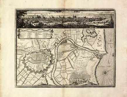 Antike Landkarten, von Pufendorf, Polen, Weichsel, Danzig, 1697: Dantiscum / Ichnographia Urbi Gedani et Castelli ad ostium Uistulae vulgo Weichselmunde