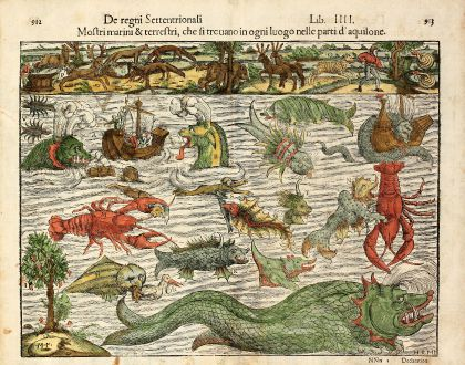Antique Maps, Münster, 16th century Monsters, 1550: Mostri marini & terrestri, che si trouano in ogni luogo nelle parti d' aquilone