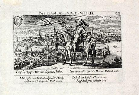 Antike Landkarten, Meissner, Schweiz, Zürich, 1638: Patriam Defendere Virtus / Zürich in Schweitz
