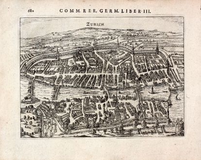 Antike Landkarten, Bertius, Schweiz, Zürich, 1616: Zurich