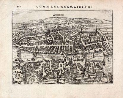 Antique Maps, Bertius, Switzerland, Zurich, 1616: Zurich