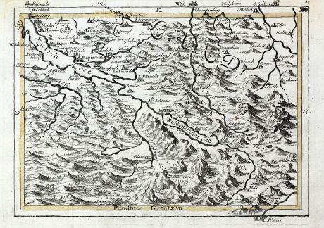 Antike Landkarten, Bodenehr, Schweiz, Walensee, Zürichsee, 1720: [Walensee Zurichsee]