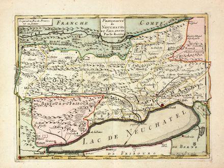 Antike Landkarten, le Rouge, Schweiz, Neuenburgersee, 1759: Principaute de Neuchatel et Vallangin Par le Rouge