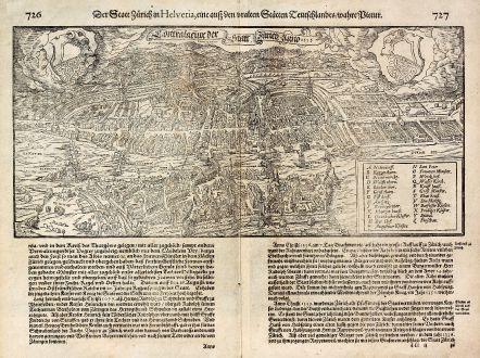 Antike Landkarten, Münster, Schweiz, Zürich, 1600: Der Statt Zürich in Helvetia ... / Contrafactur Der Statt Zürich Anno 1595