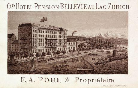 Antique Maps, Bodmer, Switzerland, Zurich, 1860: Gd. Hotel Pension Bellevue au Lac Zurich
