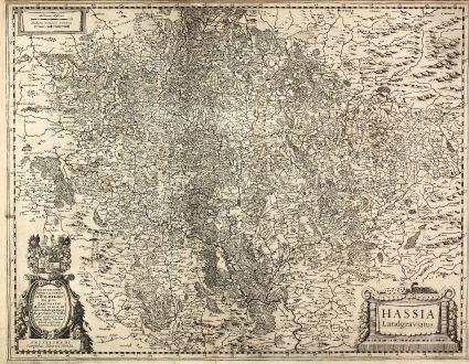 Antike Landkarten, Hondius, Deutschland, Hessen, 1630: Hassia Landgraviatus / Illustrissimo Principi ac Domino D. Wilhelmo Dei gratia Lantgravio Hassiae ...