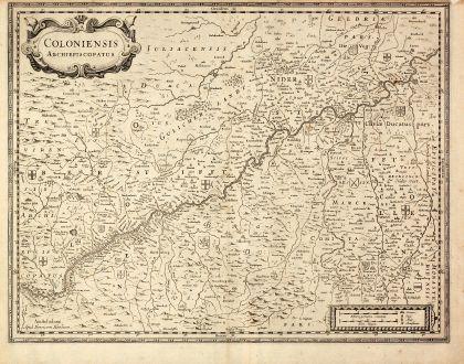 Antike Landkarten, Hondius, Deutschland, Nordrhein-Westfalen, Köln, 1630: Coloniensis Archiepiscopatus