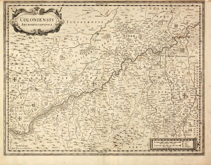 Antique Maps, Hondius, Germany, North Rhein-Westphalia, Cologne, 1630: Coloniensis Archiepiscopatus