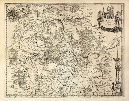 Antique Maps, Janssonius, Germany, Rhineland-Palatinate, 1650: Palatinatus ad Rhenum