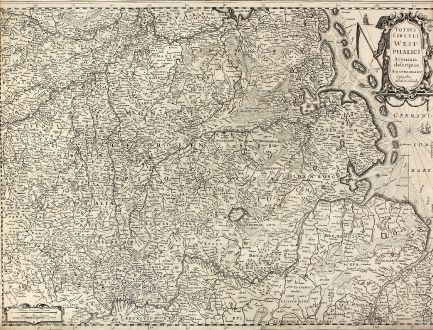 Antike Landkarten, Hondius, Deutschland, Niedersachsen, Friesland, 1630: Totius Circuli Westphalici Accurata descriptio Amstelodami Sumptibus Henrici Hondy