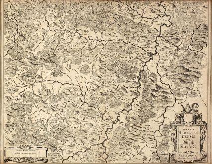 Antike Landkarten, Hondius, Deutschland, Hessen, Bad Hersfeld, 1620: Abbatia Heresfeldensis vulgo t Stifftt Hirsfeldt. Amstelodami Sumptibus Henrici Hondy