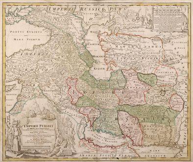 Antike Landkarten, Homann, Mittlerer Osten, Persien, 1720: Imperii Persici In Omnes Suas Provincias