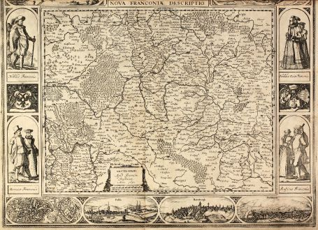 Antique Maps, Janssonius, Germany, Bavaria, Franconia, 1626 [1632]: Nova Franconiae Descriptio. Amsterdam