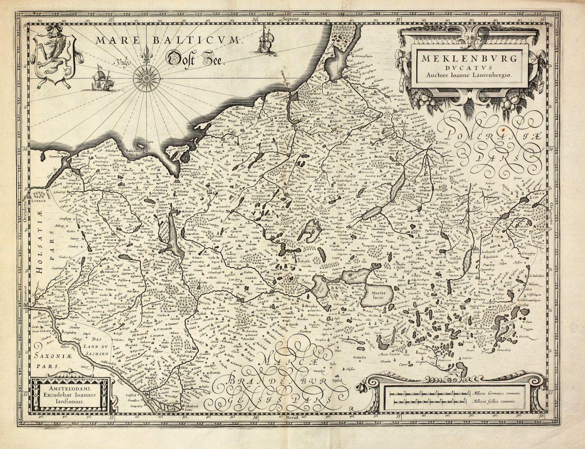 Meklenburg Ducatus Auctore Ioanne Janssonius Germany