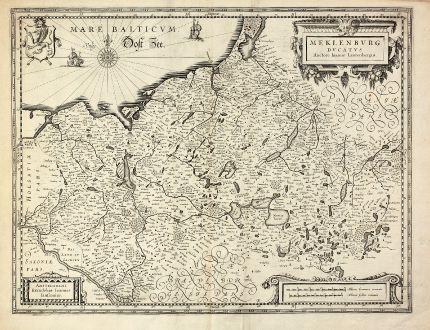 Antike Landkarten, Janssonius, Deutschland, Mecklenburg-Vorpommern, 1630: Meklenburg Ducatus. Auctore Ioanne Laurenbergio.
