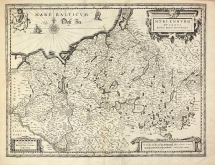 Antique Maps, Janssonius, Germany, Mecklenburg-Vorpommern, 1630: Meklenburg Ducatus. Auctore Ioanne Laurenbergio.