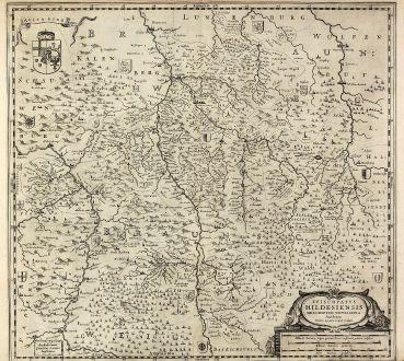 Antike Landkarten, Janssonius, Deutschland, Niedersachsen, Hildesheim, 1630: Episcopatus Hildesiensis descriptio novissima