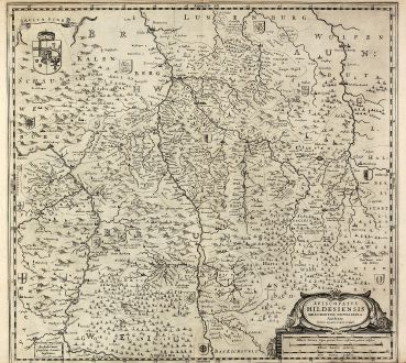 Antique Maps, Janssonius, Germany, Lower Saxony, Hildesheim, 1630: Episcopatus Hildesiensis descriptio novissima