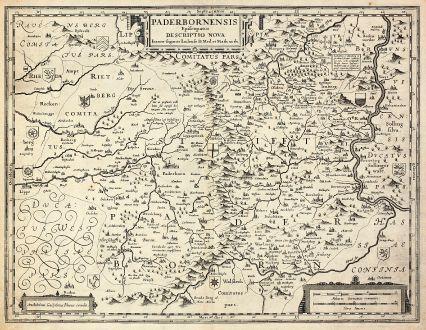 Antike Landkarten, Blaeu, Deutschland, Nordrhein-Westfalen, Paderborn, 1630: Paderbornensis Episcopatus Descriptio Nova