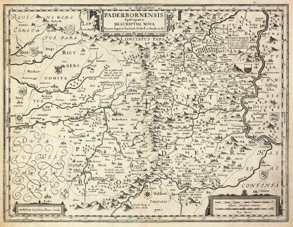 Antique Maps, Blaeu, Germany, North Rhein-Westphalia, Paderborn, 1630: Paderbornensis Episcopatus Descriptio Nova