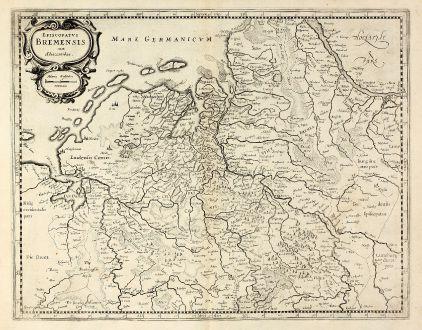 Antike Landkarten, Mercator, Deutschland, Niedersachsen, Bremen, 1630: Episcopatus Bremensis cum Adiacentibus
