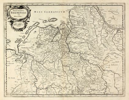 Antique Maps, Mercator, Germany, Lower Saxony, Bremen, 1630: Episcopatus Bremensis cum Adiacentibus