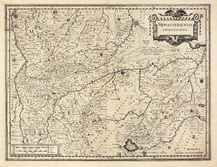Antike Landkarten, Janssonius, Deutschland, Niedersachsen, Nordrhein-Westfalen: Monasteriensis Episcopatus