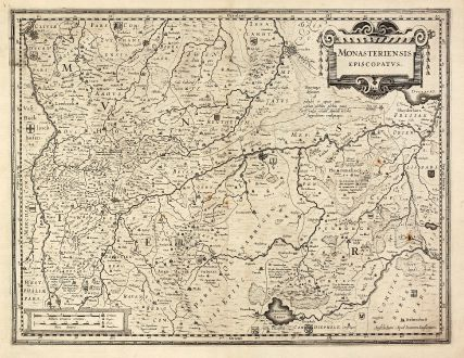 Antique Maps, Janssonius, Germany, Lower-Saxony, North Rhine-Westphalia: Monasteriensis Episcopatus