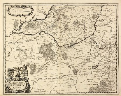 Antike Landkarten, Hondius, Deutschland, Sachsen-Anhalt, Magdeburg, 1630: Principatus Anhaldinus et Magdeburgensis Archiepiscopatus