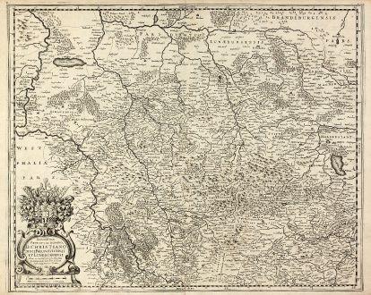 Antike Landkarten, Hondius, Deutschland, Niedersachsen, 1630: Serenißimo Principi Ac Domino, D. Christiano Duci Brunsvicensi Et Luneburgensi Hanc accuratißiman sui Ducatus...