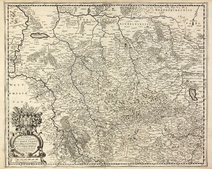 Antique Maps, Hondius, Germany, Lower-Saxony, 1630: Serenißimo Principi Ac Domino, D. Christiano Duci Brunsvicensi Et Luneburgensi Hanc accuratißiman sui Ducatus...